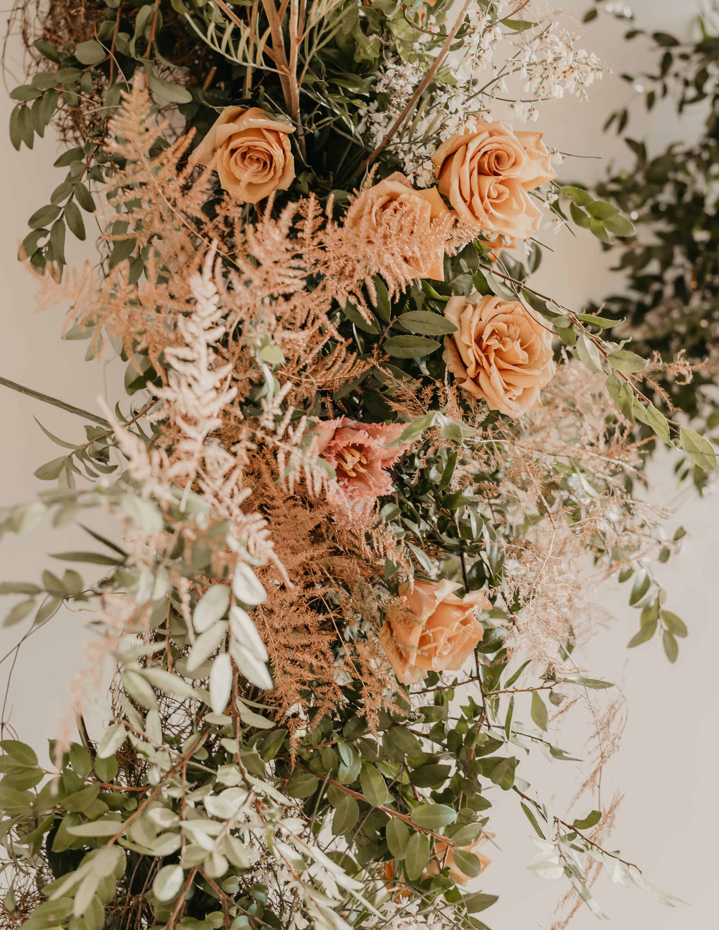Blush, Green, Tan roses and copper colored florals for the Mid-Century Modern Boho Inspirational Editorial - Pearl Weddings & Events