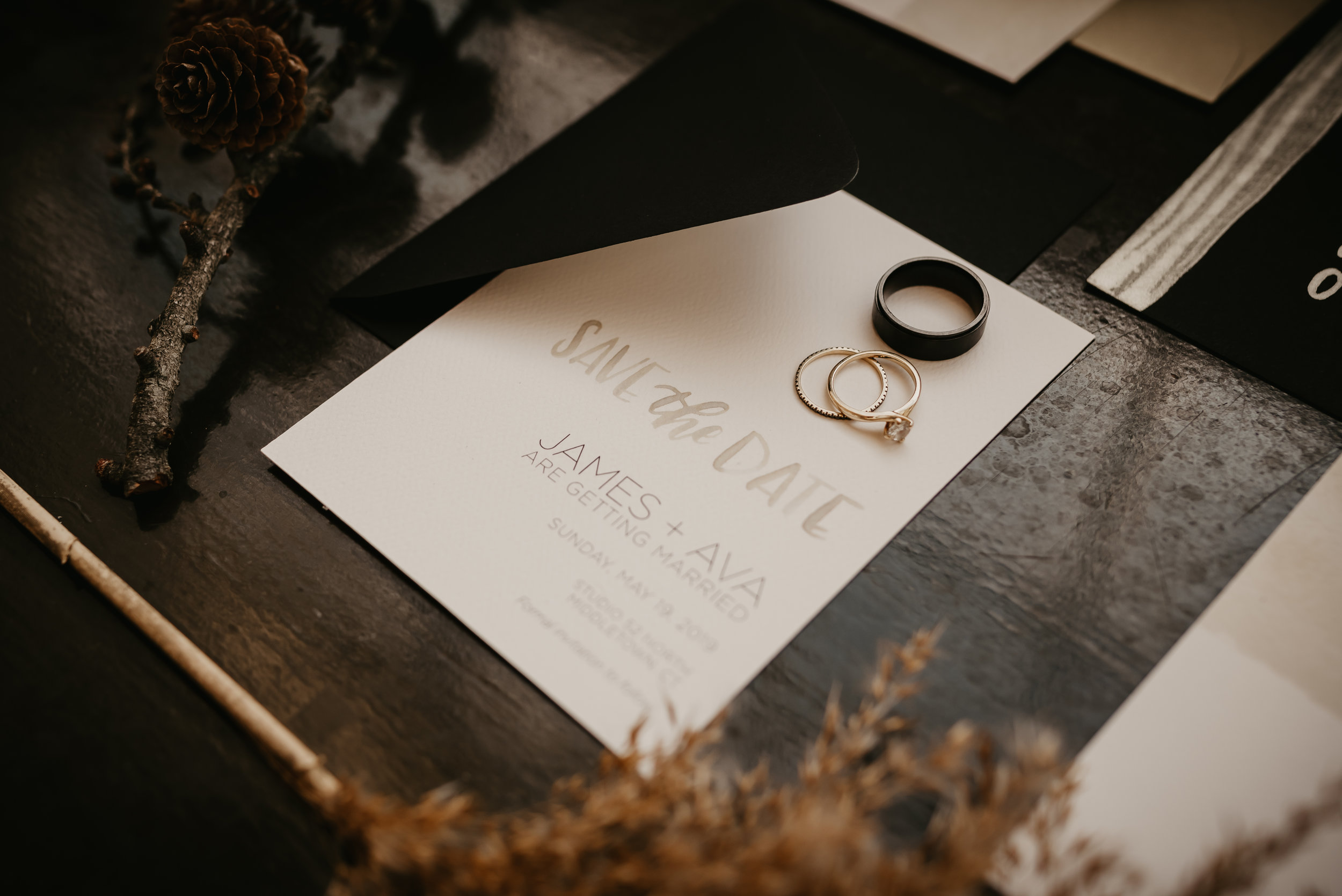 Black and Tan Wedding Stationary Details - Pearl Weddings & Events