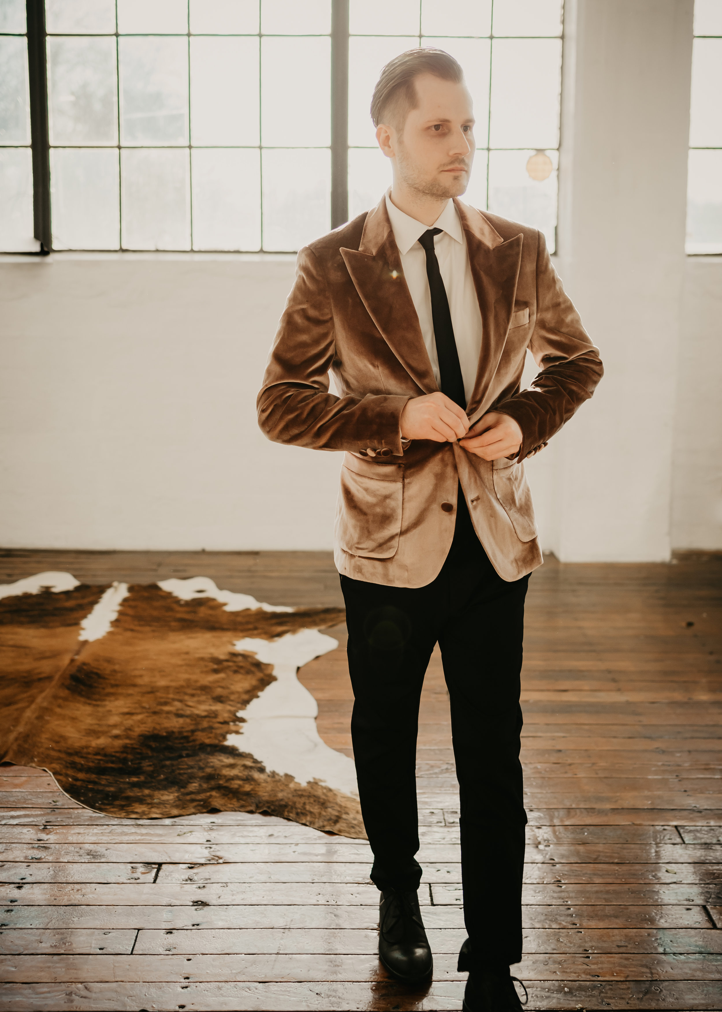 Grooms Attire | Velvet Jacket with Black Pants - Pearl Weddings & Events