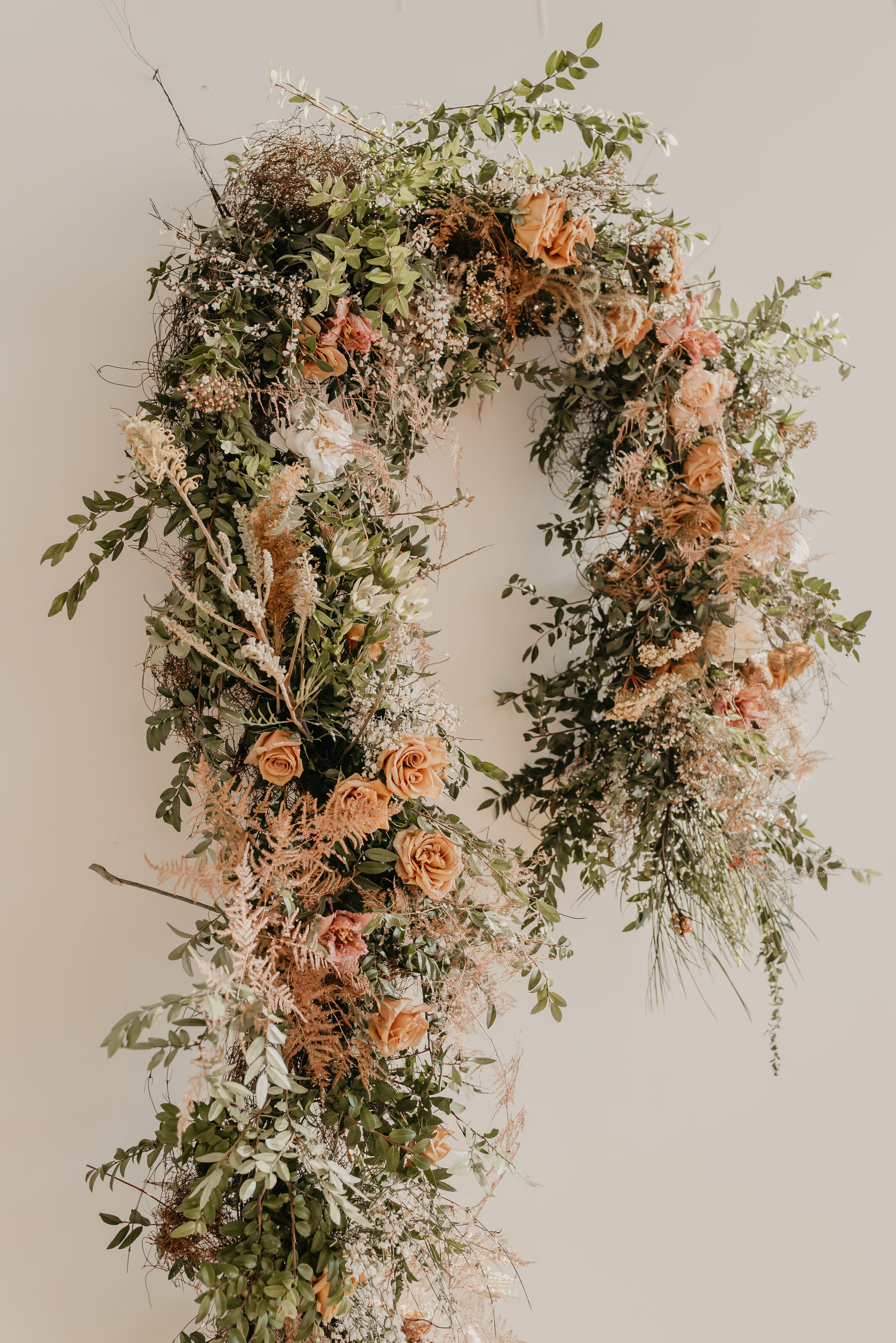 Arched ceremony floral installation piece (Neutral Color Tones) - Pearl Weddings & Events