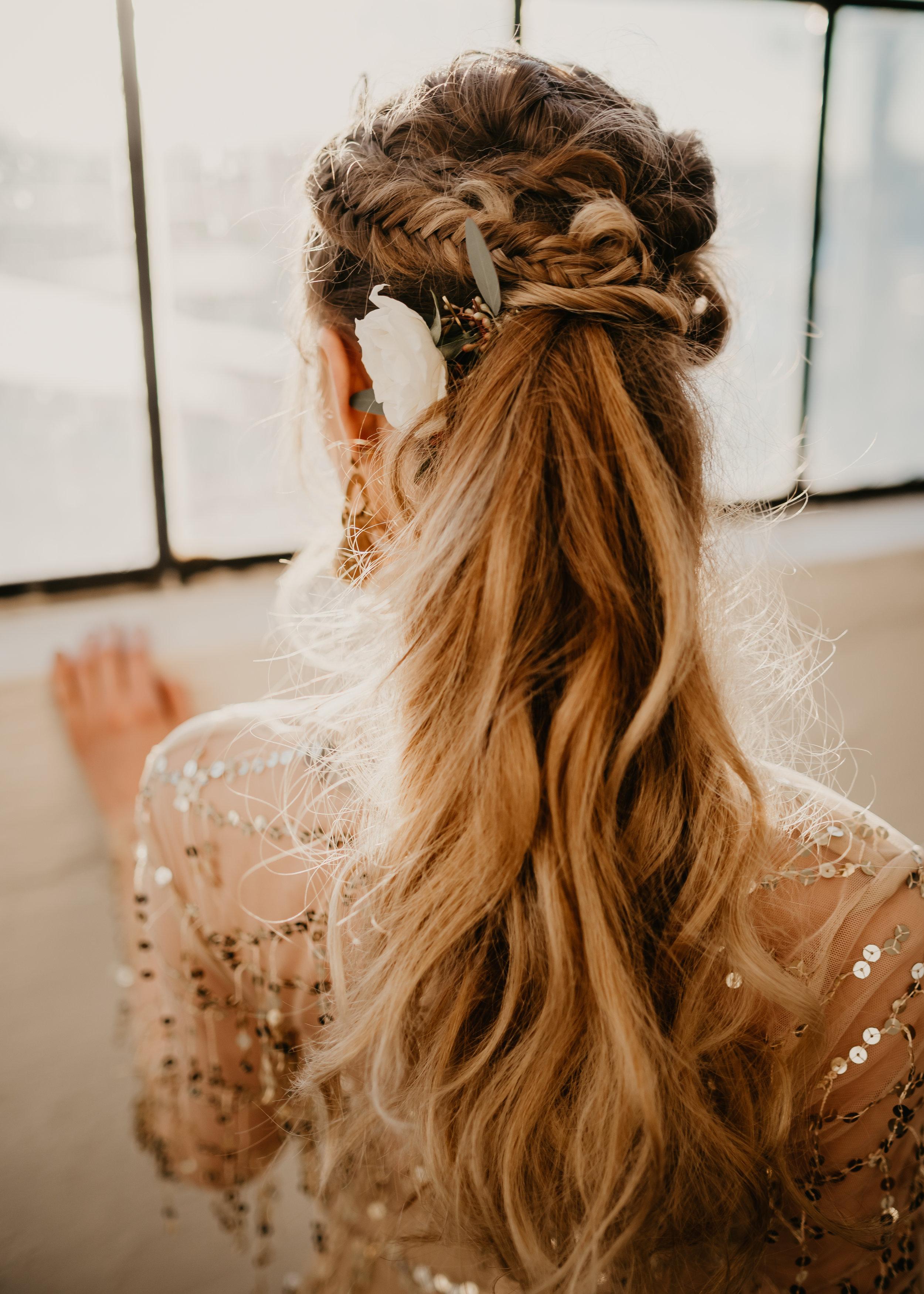 Bridal up do - Pony Tail and Fish Tail with florals - Pearl Weddings & Events