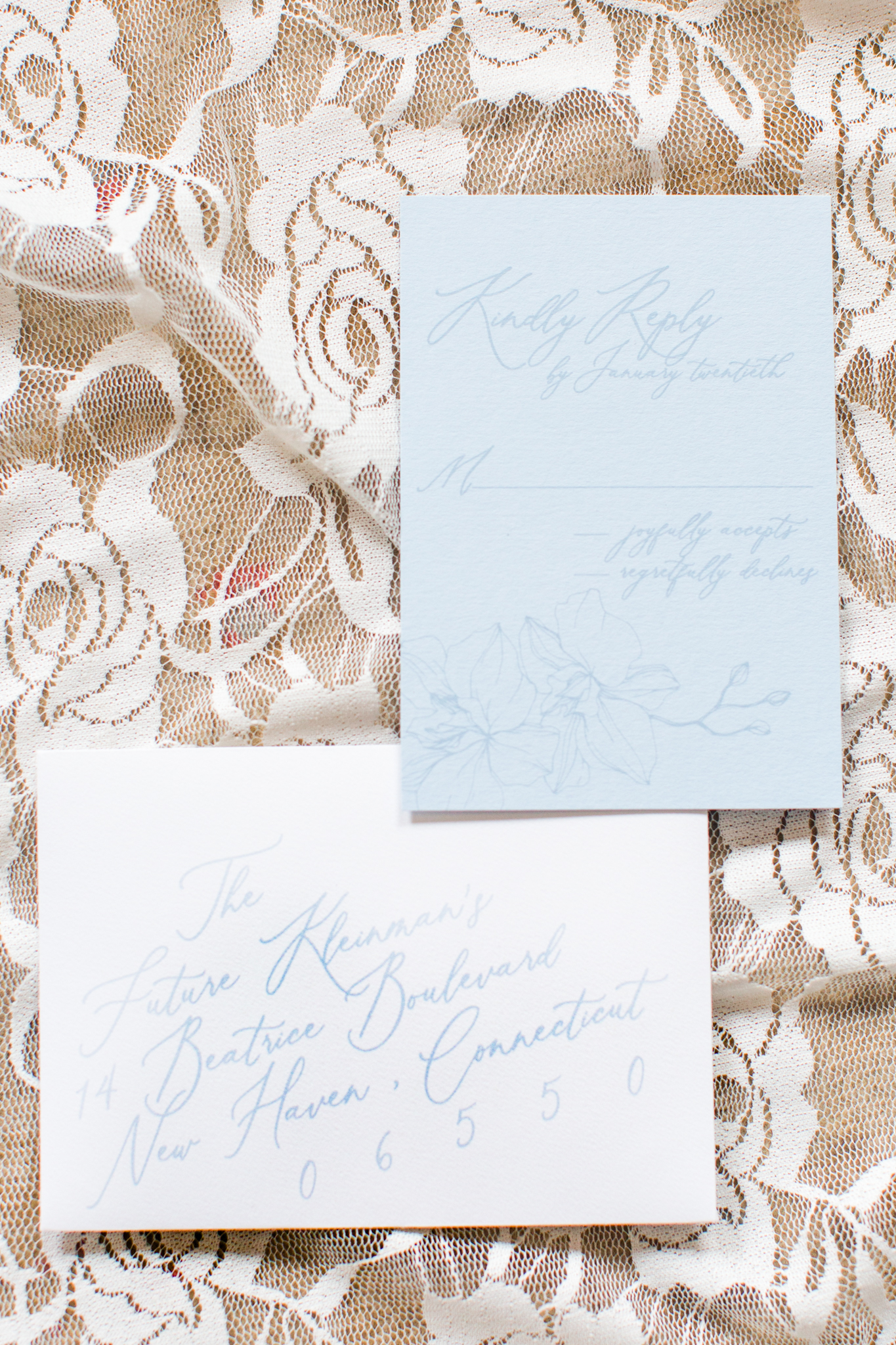 Winter invitation suite for light blue, whites and pink wedding - Pearl Weddings & Events