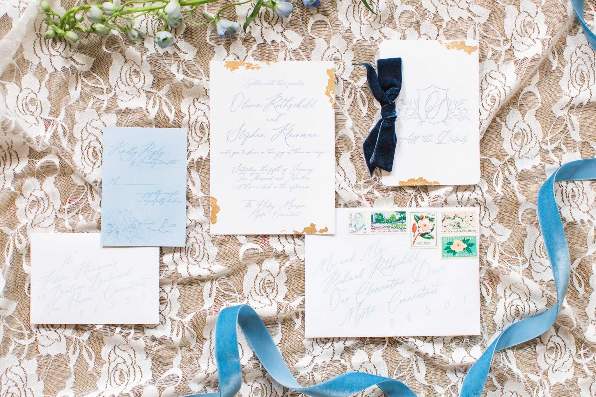 Elegant and classic seaside wedding invitation suite - Pearl Weddings & Events