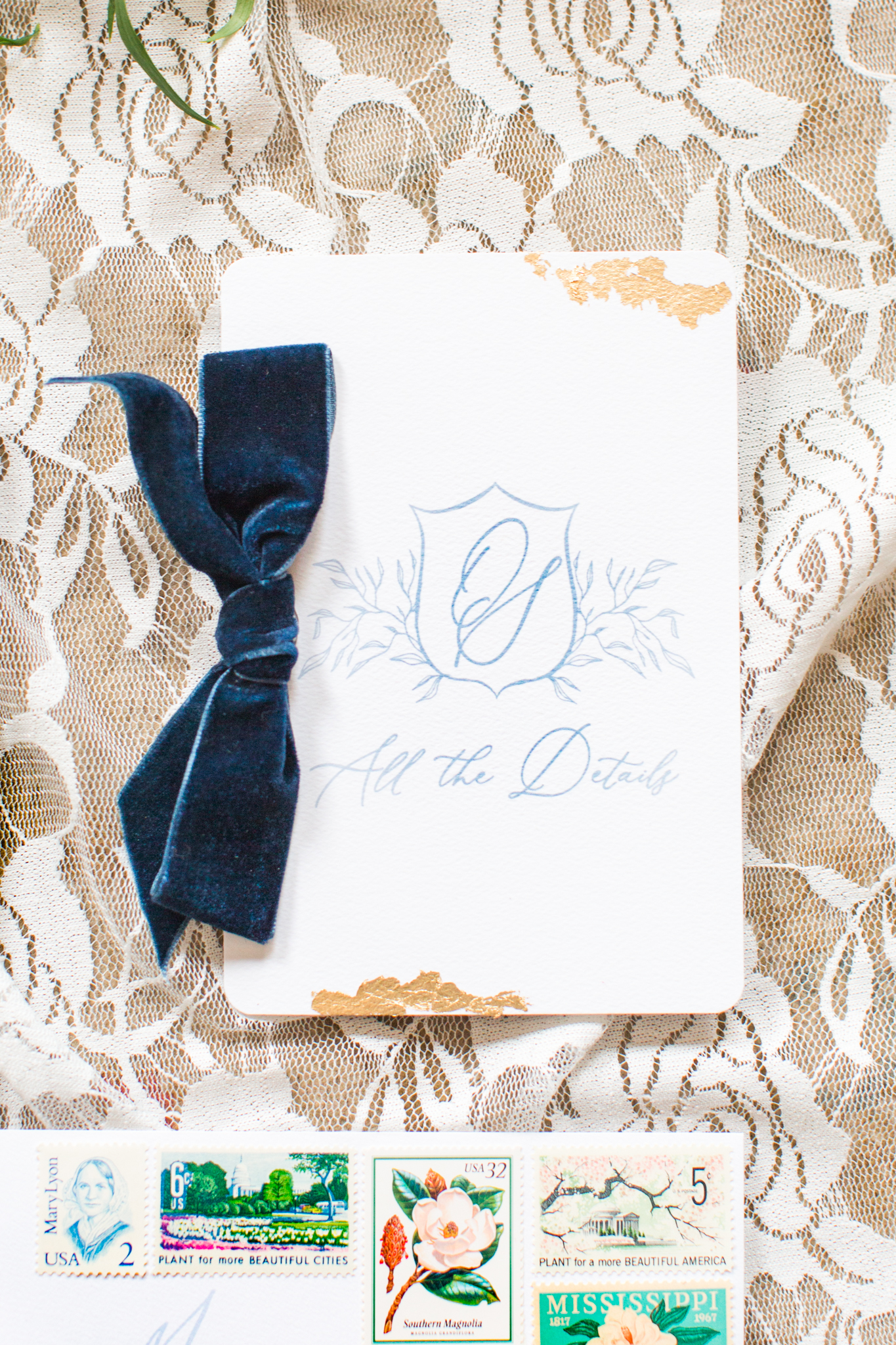 The details card for the invitation suite with a velvet ribbon and fold - Pearl Weddings & Events