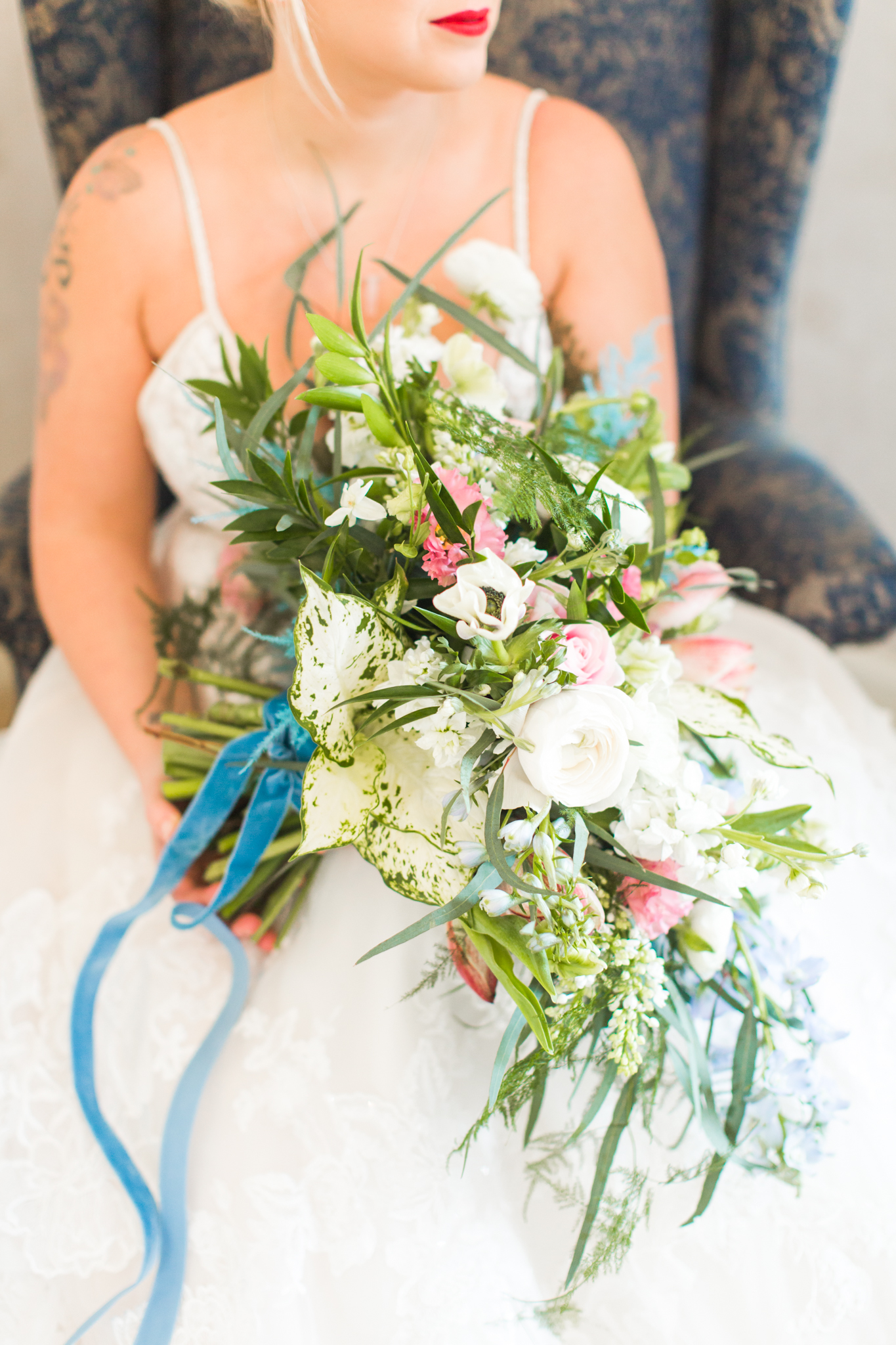 Oval of set organic bouquet with greens, whites and coral color tones for a New England winter wedding - Pearl Weddings & Events