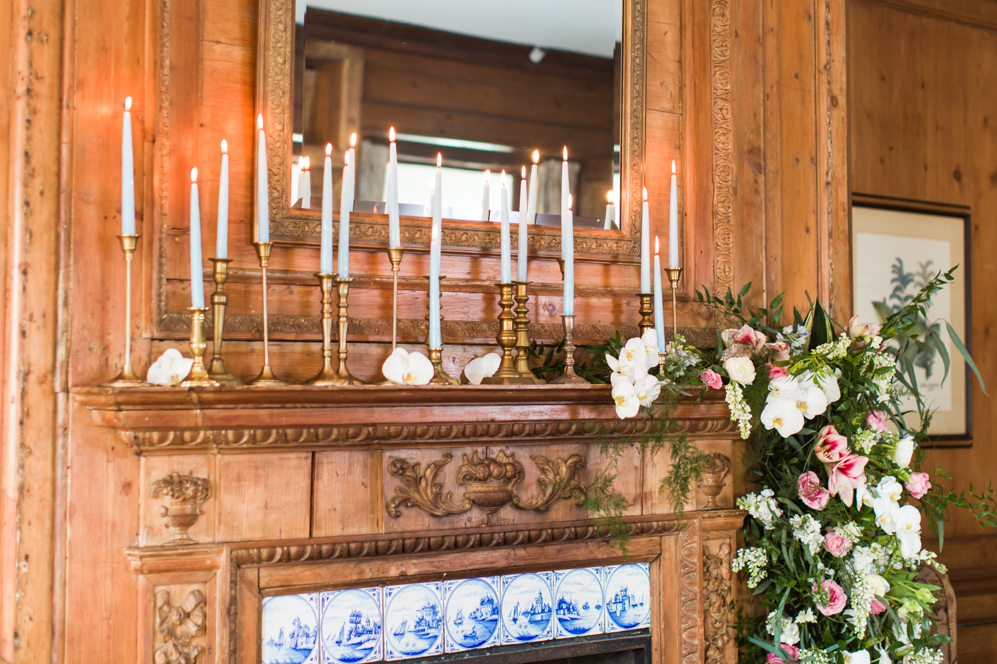 Floral covered fireplace for an intimate ceremony in the winter - Pearl Weddings & Events