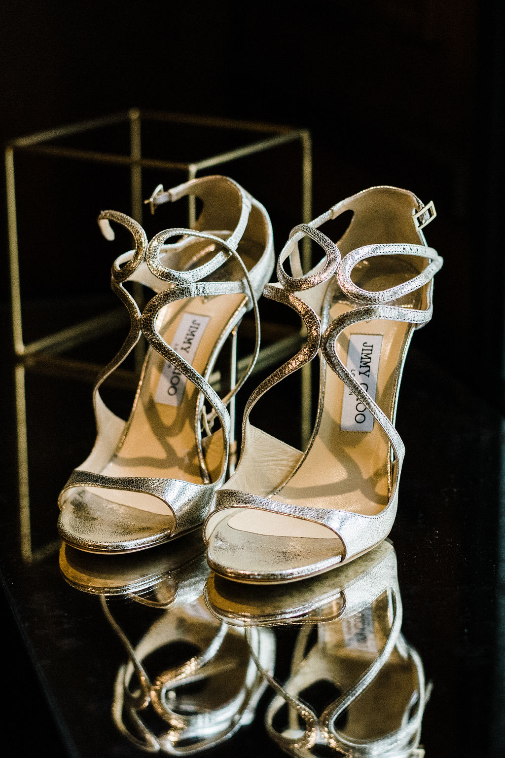 Jimmy Choo bridal shoes in a gold silver heel - Pearl Weddings & Events
