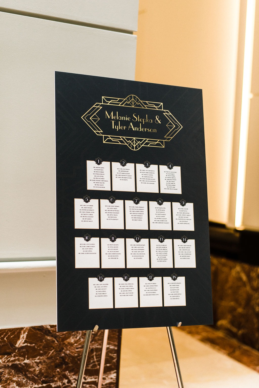 Great Gatsby themed wedding chart for Melanie & Tyler Anderson's wedding - Pearl Weddings & Events