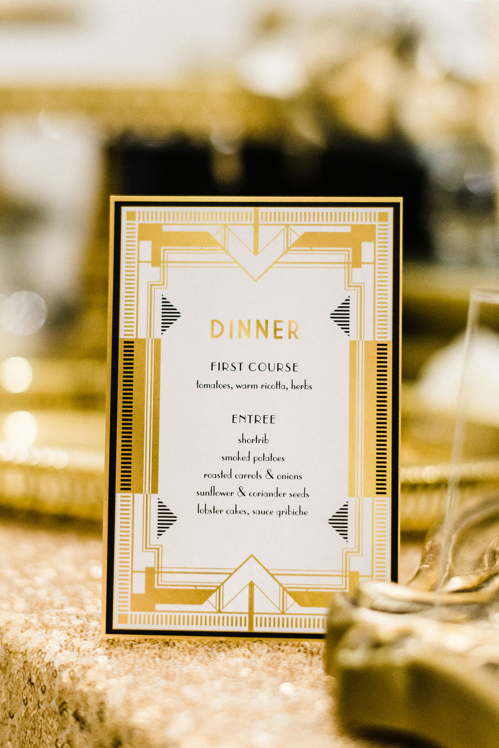 Tyler Anderson's wedding dinner menu at The Goodwin Hotel - Pearl Weddings & Events