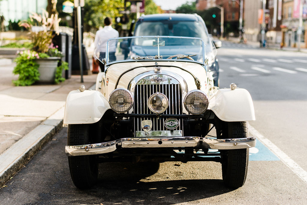 1940 classic getaway car at a Great Gatsby themed wedding for Melanie and Tyler Anderson - Pearl Weddings & Events