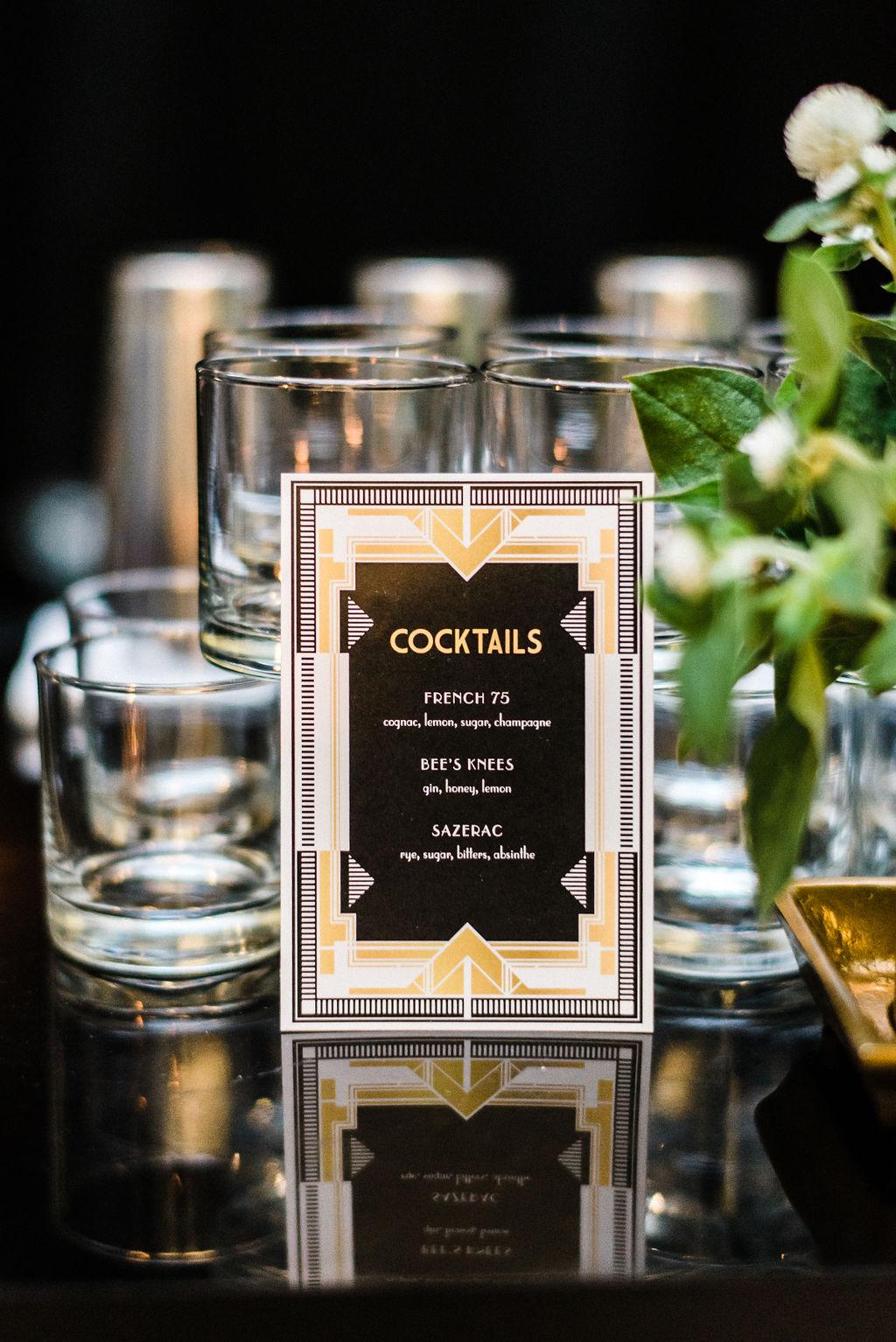 Great Gatsby themed wedding drink list for Melanie & Tyler Anderson's wedding - Pearl Weddings & Events