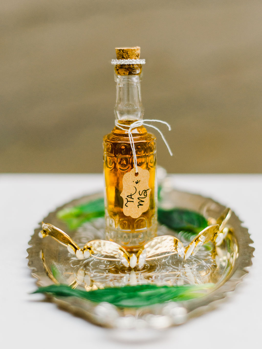 Tiny liquor favors for each guest at a Great Gatsby Themed Wedding - Pearl Weddings & Events