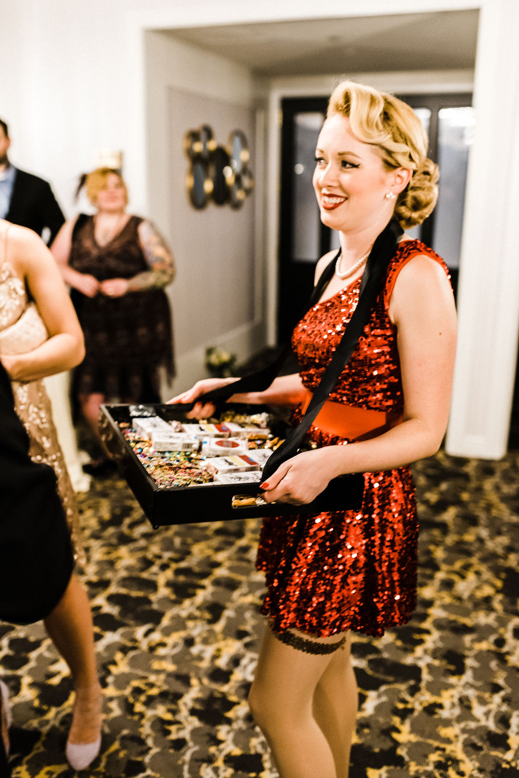 Cigar girls for a great gatsby themed wedding at The Goodwin Hotel in Hartford, CT - Pearl Weddings & Events