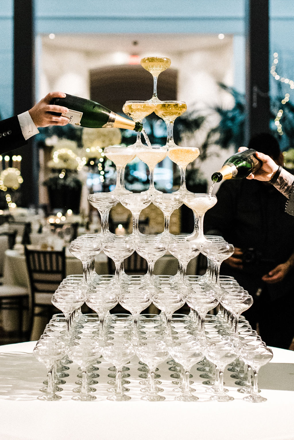 Great Gatsby themed wedding with a champagne tower! - Pearl Weddings & Events