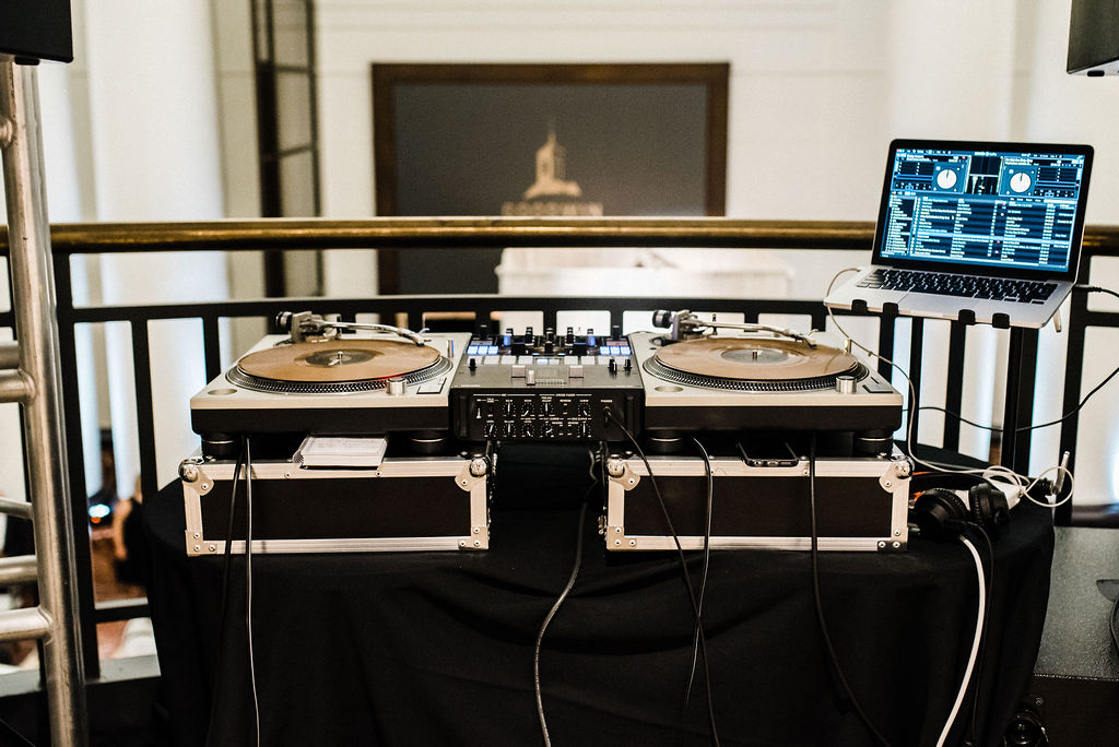 Connie Carmona's DJ set up at The Goodwin Hotel - Pearl Weddings & Events