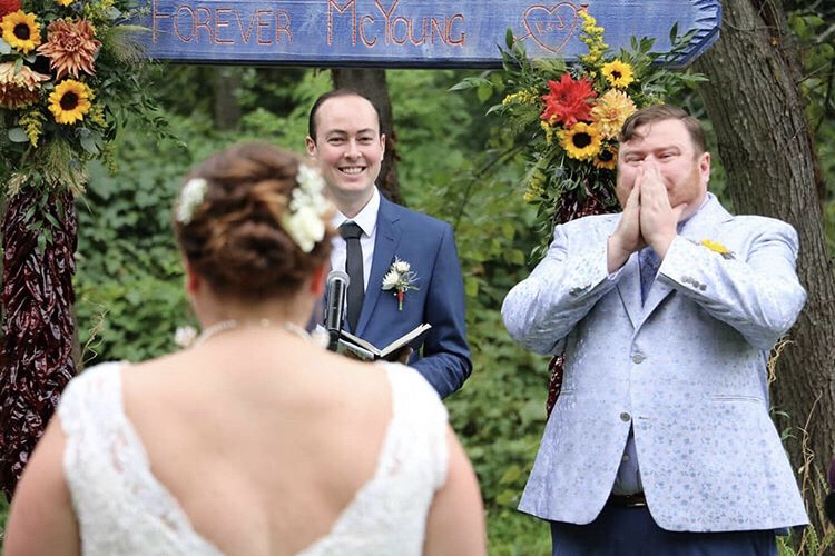 Kristin & John's September wedding when the bride walks down the aisle and the grooms reaction is beautiful. - Pearl Weddings & Events
