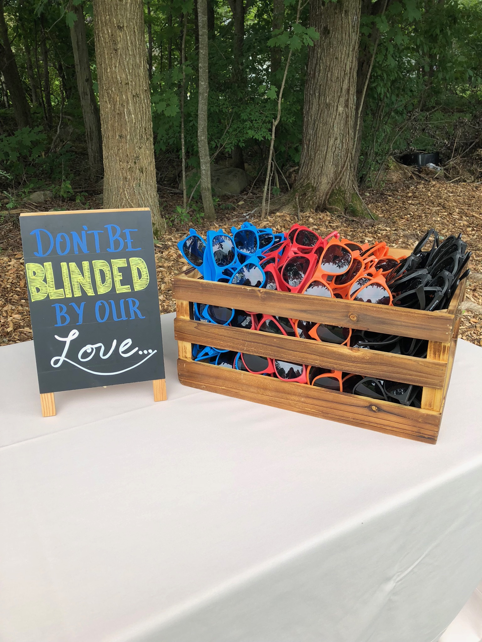 Don't be blinded by our love signs for a wedding ceremony and sunglasses favor - Pearl Weddings & Events