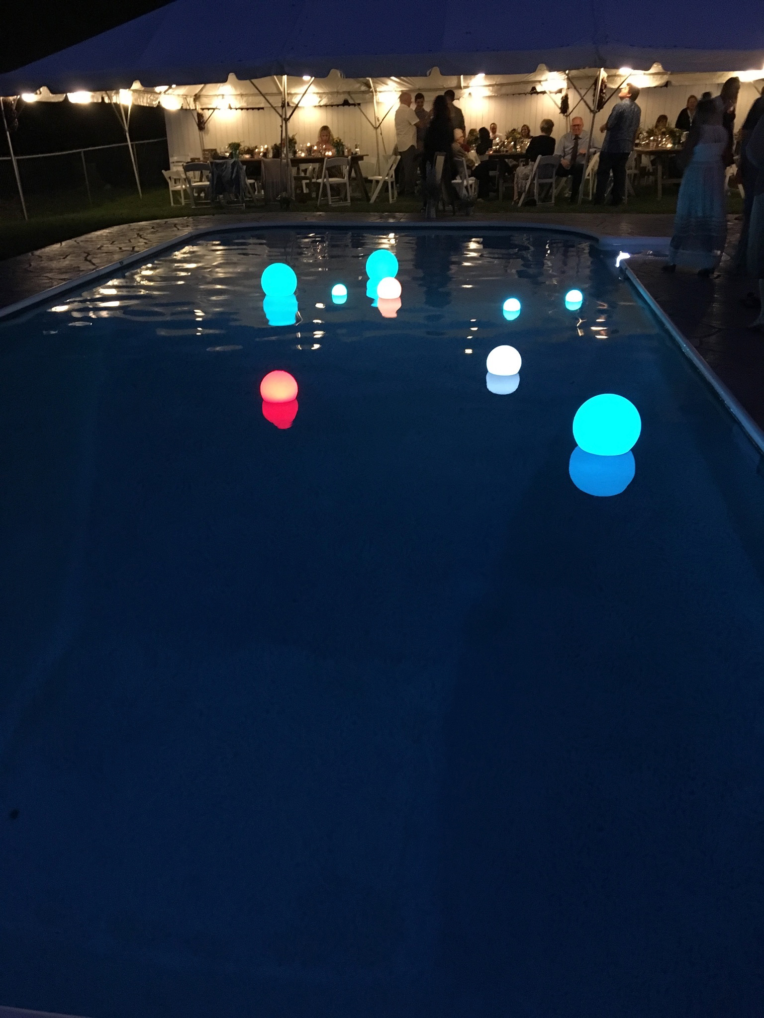 Wedding pool party with glowing balls - Pearl Weddings & Events