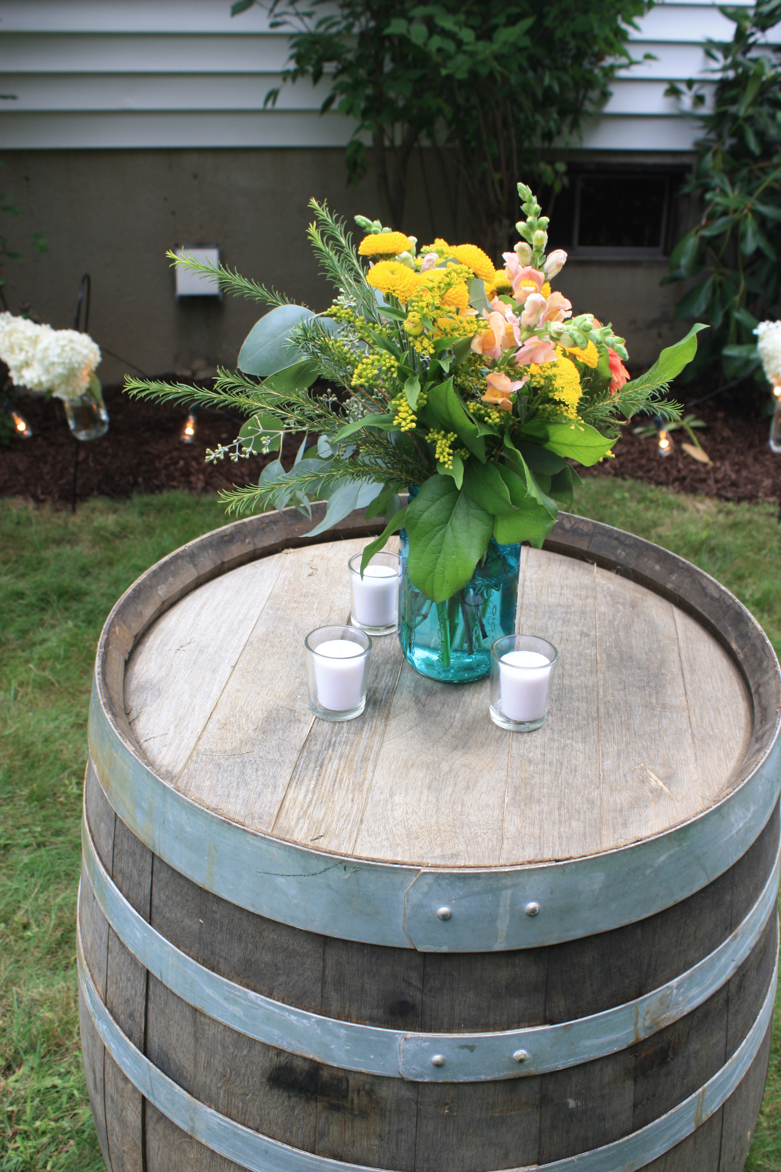 Blue Mason Jars and Wine Barrels for a Wedding Cocktail Hour - Pearl Weddings & Events