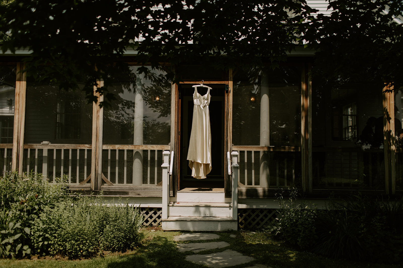 Ivory silk wedding dress in Vermont - Pearl Weddings & Events