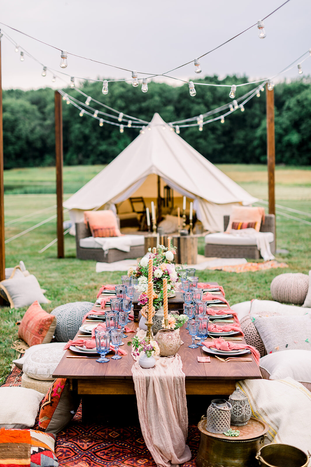 Connecticut Wedding Planner Designer Glamping Style Intimate Wedding At Maple Lane Farms In Preston Connecticut