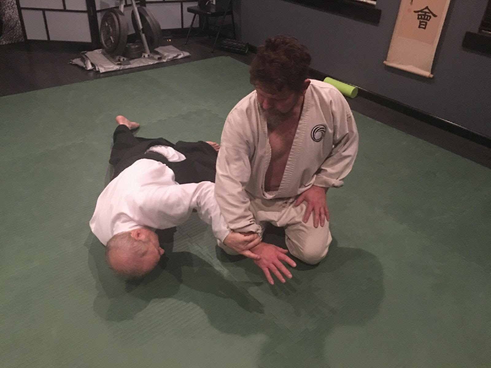 Eric Pearson demonstrating a side grab aiki otoshi technique.