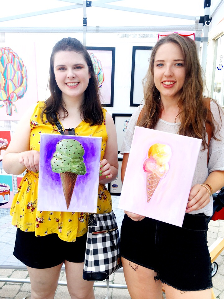 girls with their ice cream paintings.JPG