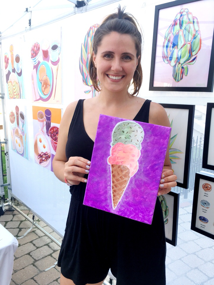theresa with her ice cream painting.JPG