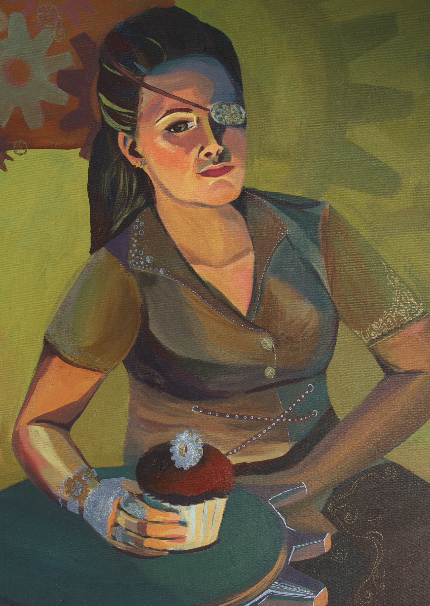 Steampunk self-portrait?Clearly this needs a cupcake! -