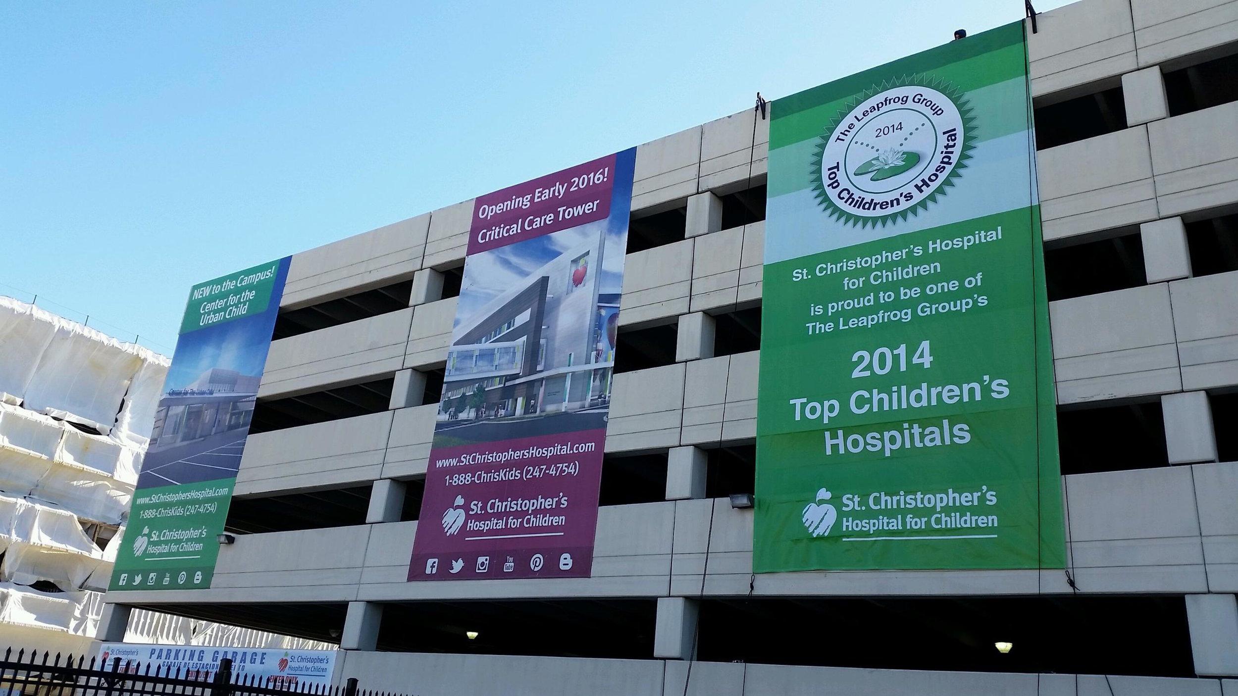 Children's Hospital garage banners