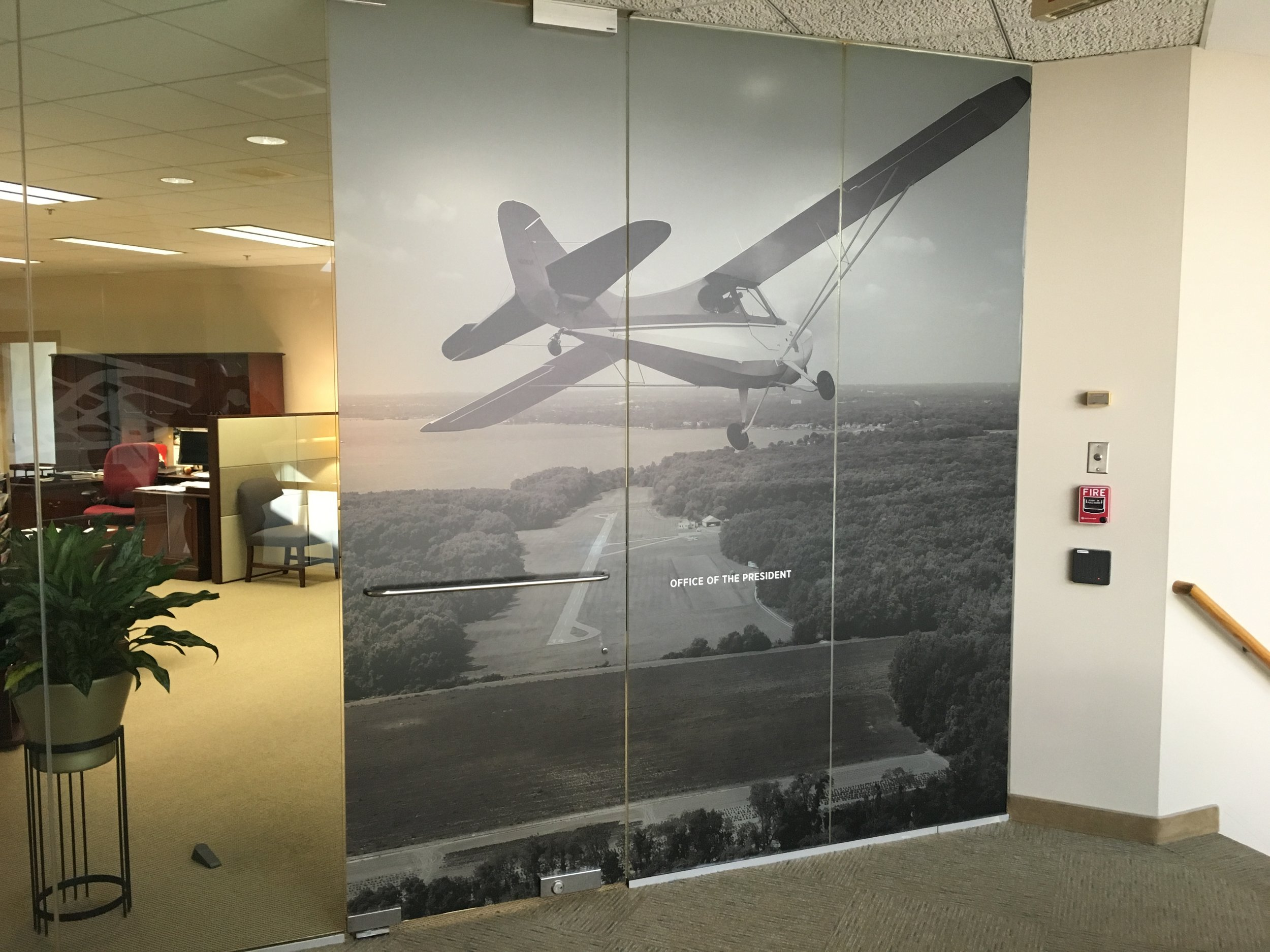 Airplane on window graphic