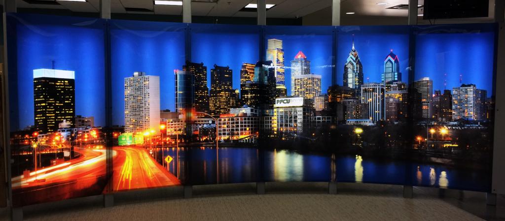 backlit city landscape