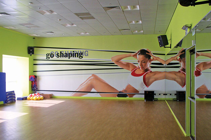 Wall graphics in gym