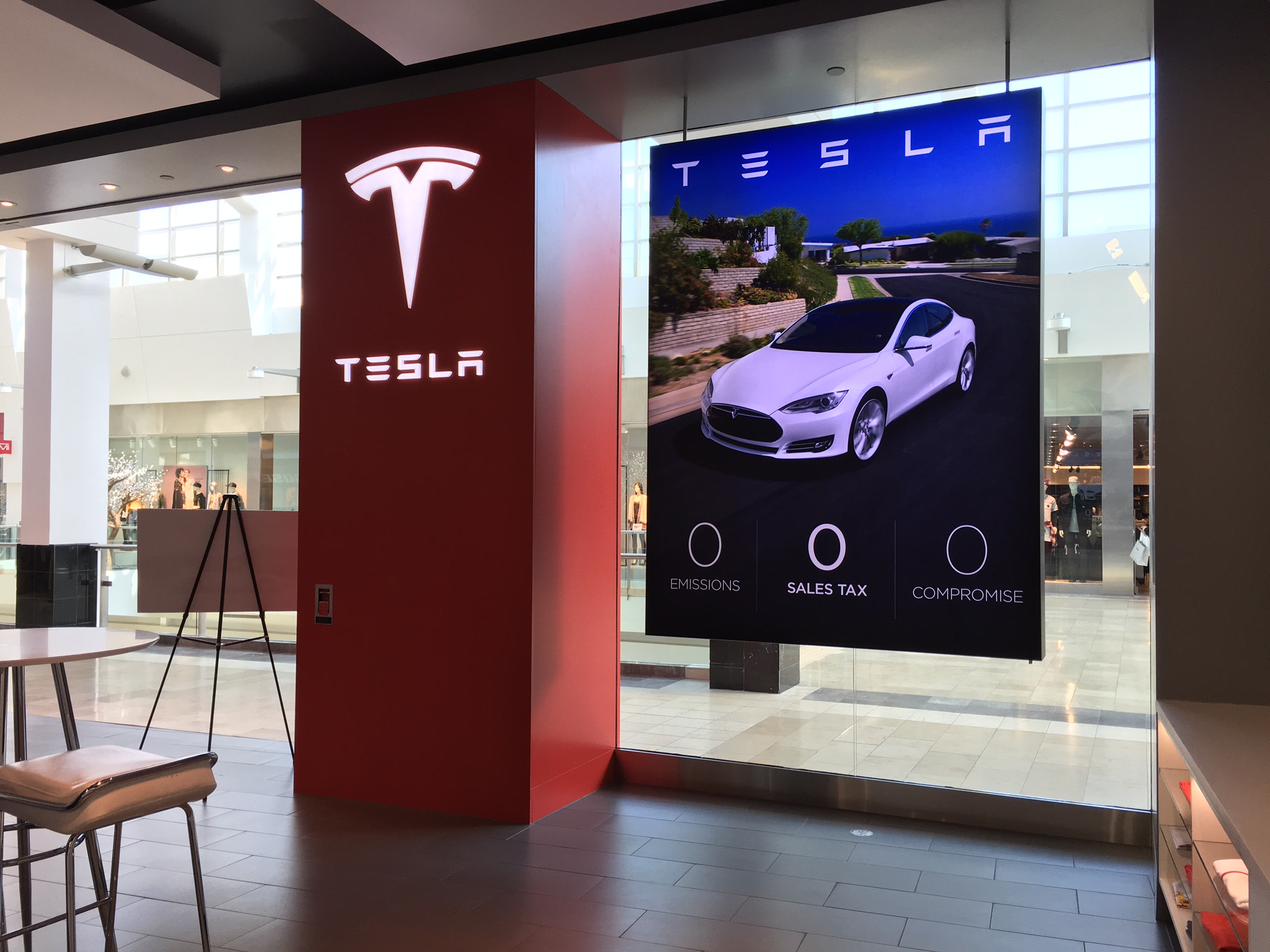 Tesla Motors indoor signage