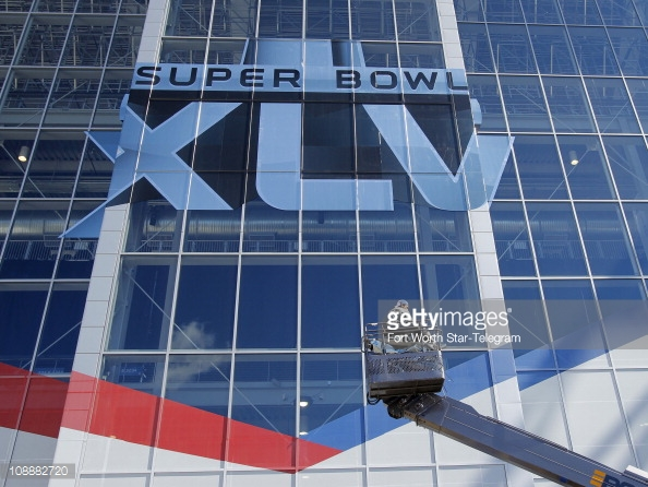 Super Bowl window film on building