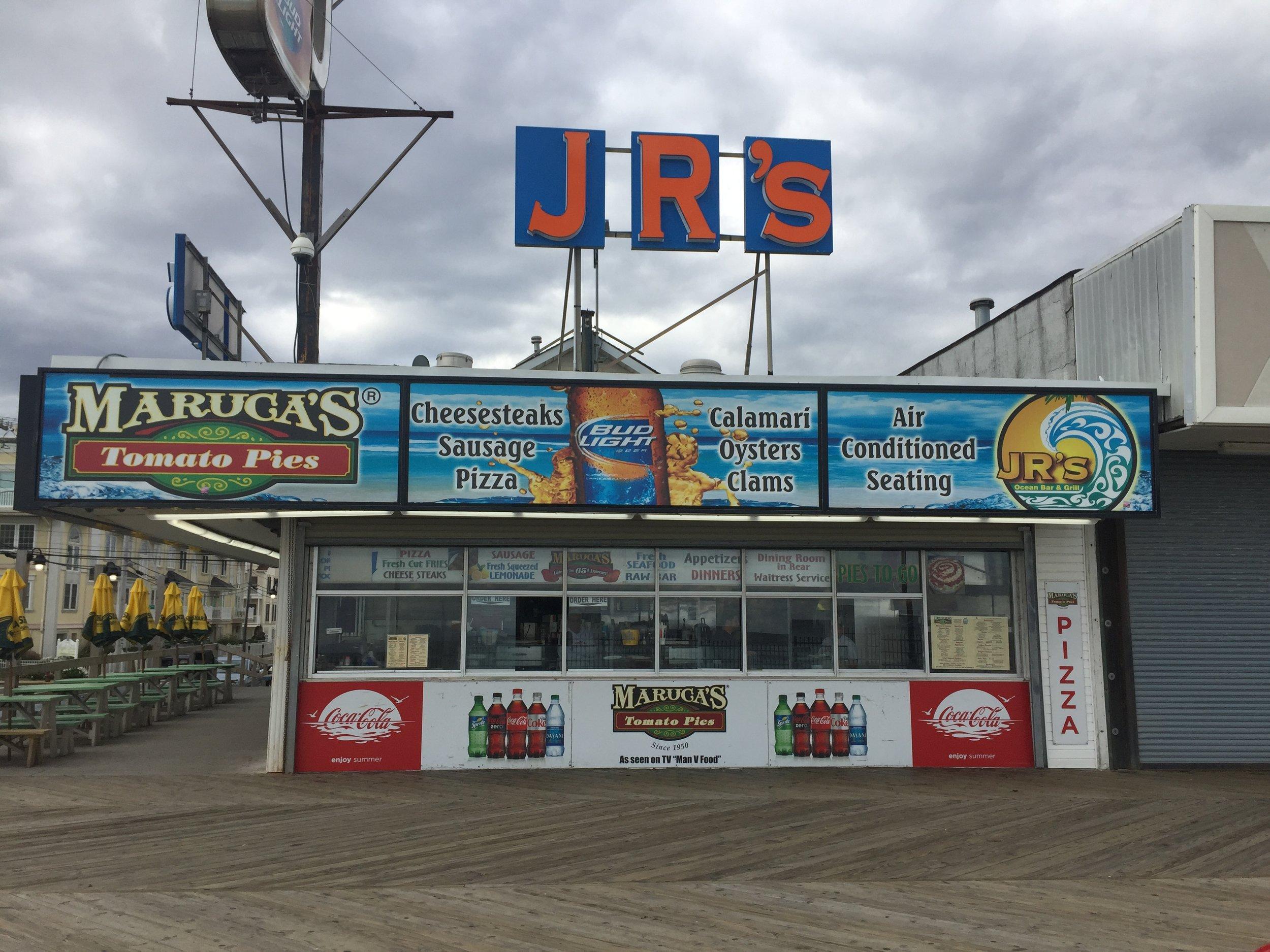 JR's Ocean Grill boardwalk backlit signage