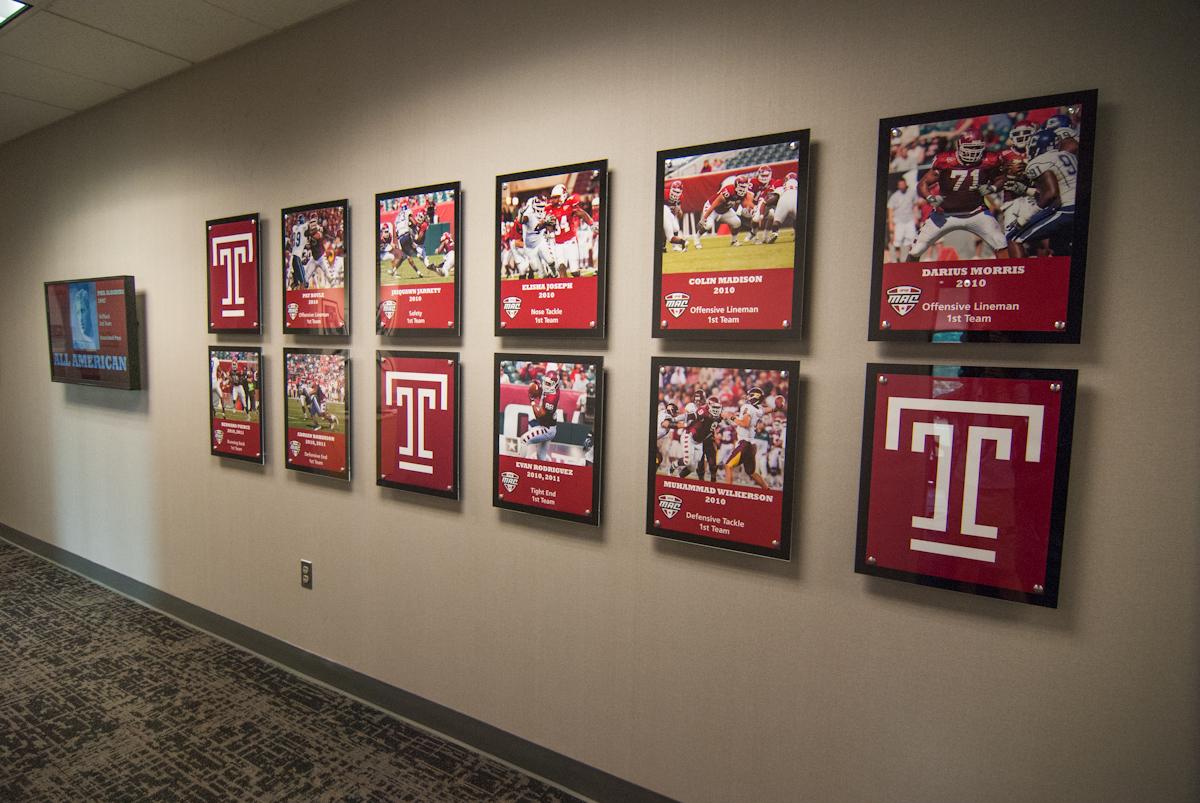 Temple University football signage