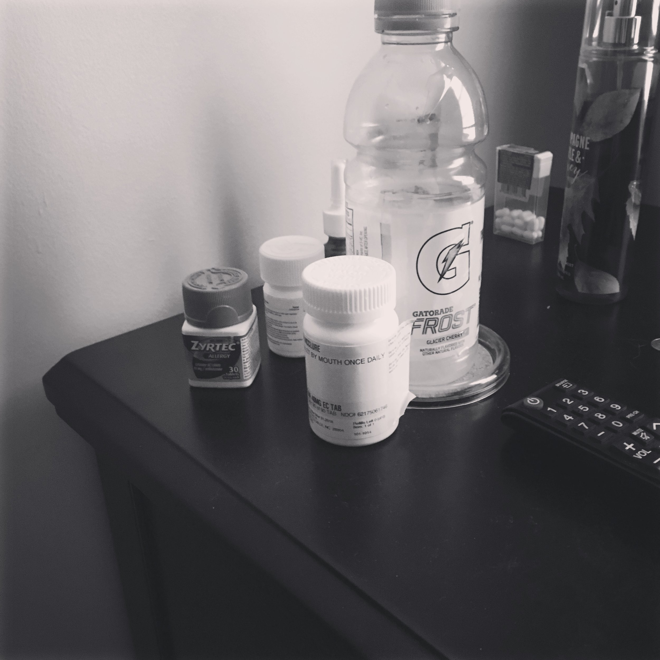 0750 || The first thing I usually do when I wake up is to reach for my medication. I don't take nearly half the things I should because I just don't like taking medicine. After hardly getting any sleep last night, today is going to be a long day for sure.