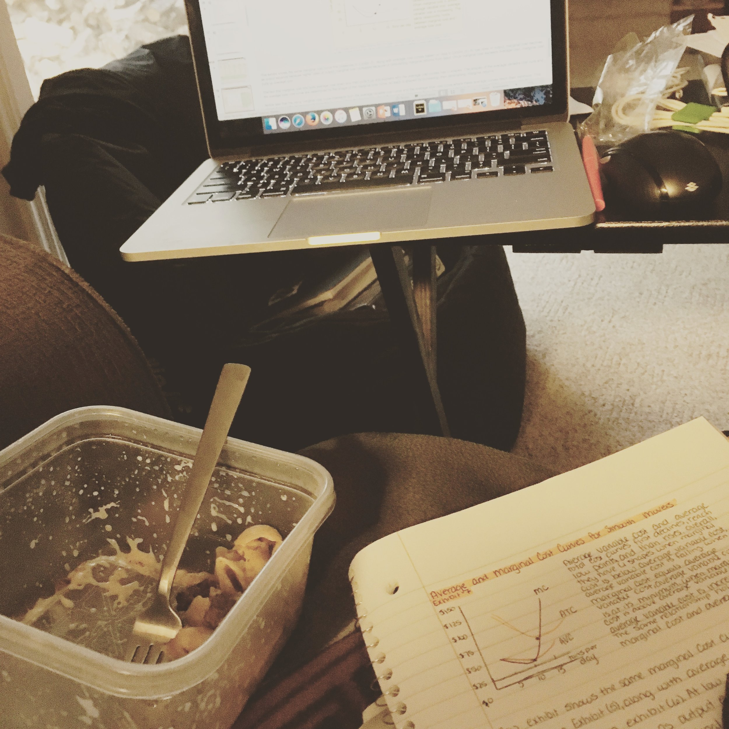 1818 || Well, this is a familiar sight. Working on mu economics notes while eating dinner. I can't wait for this semester to be over!