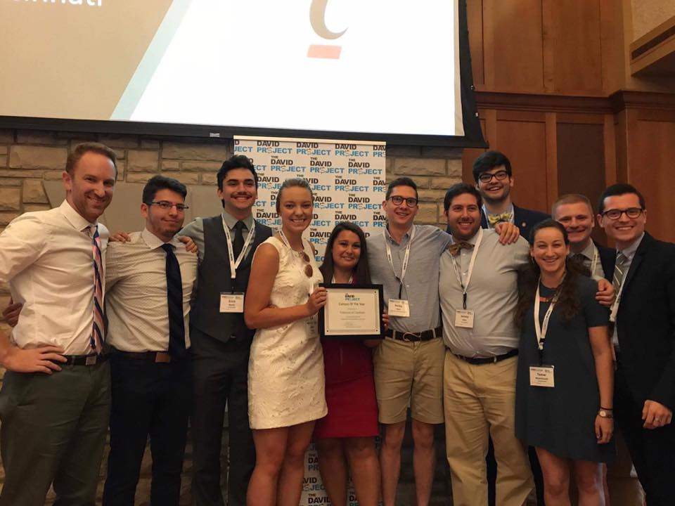 The University of Cincinnati intern team receiving the 2017 David Project Campus of the Year Award.
