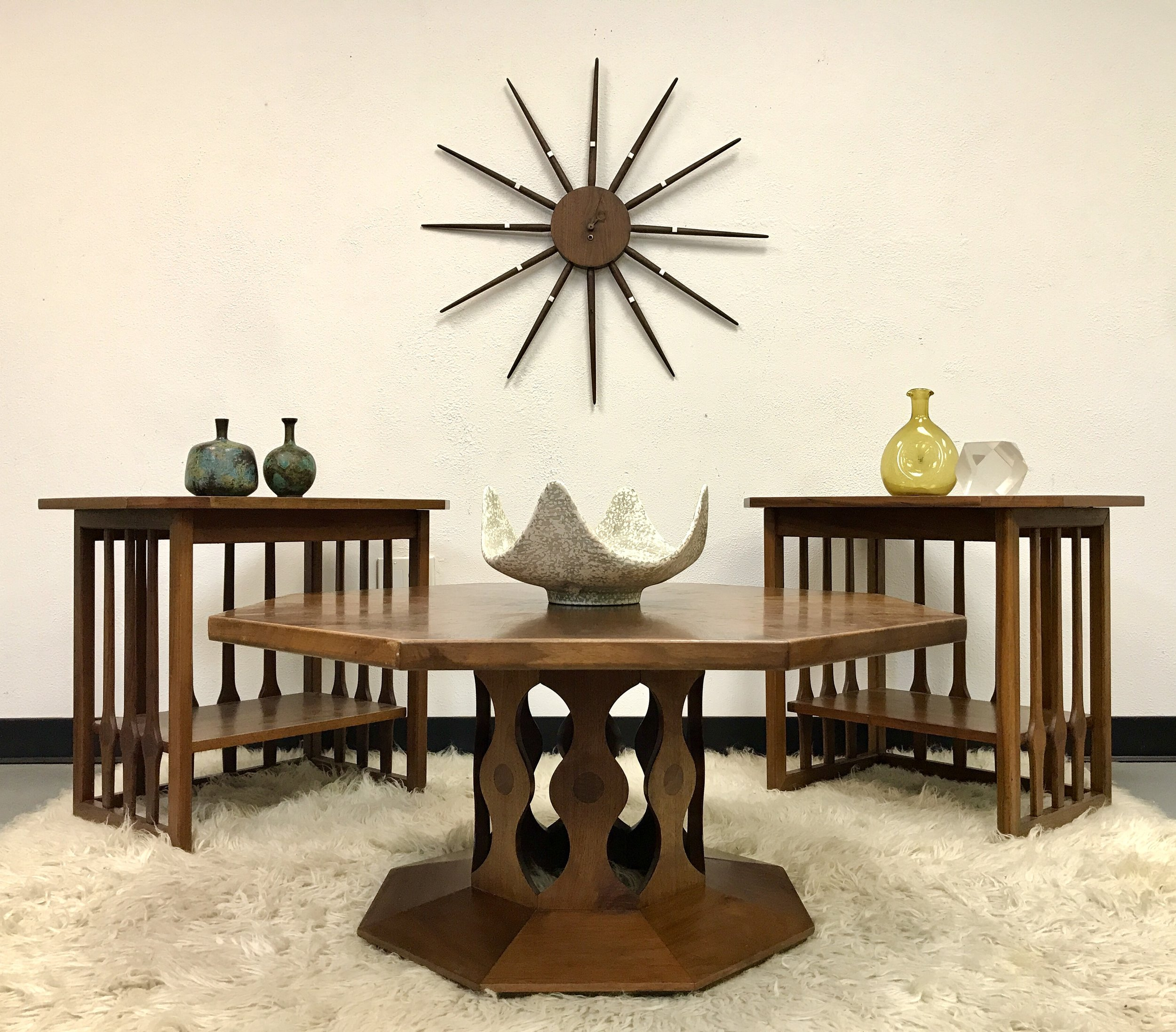 Sold Mcm Walnut Coffee And End Table Set By Foster Mcdavid Mod Science Decor