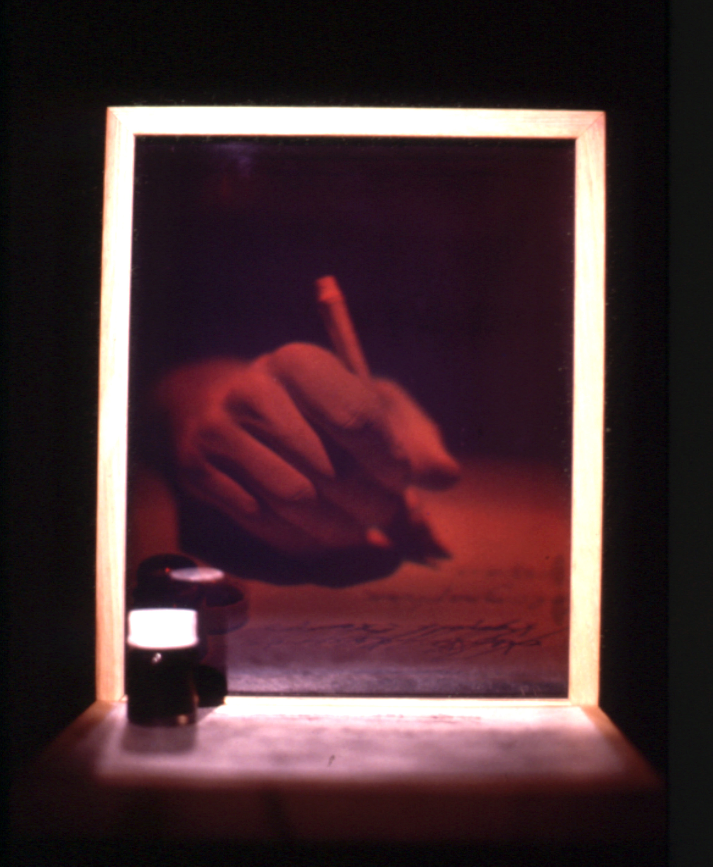 """Tranche d'espace-temps"", 1984 Reflection hologram on glass (WLR), wood, ink on paper and bottle 21 x 30 x 22 cm, ed. 6/6"