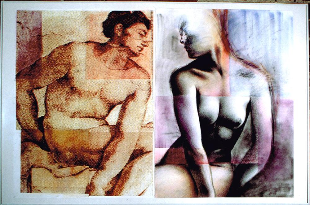 «Sans commentaires», 1996 Collage de photocopies, fusain et pastels, 80 x 120 cm. Collection privée