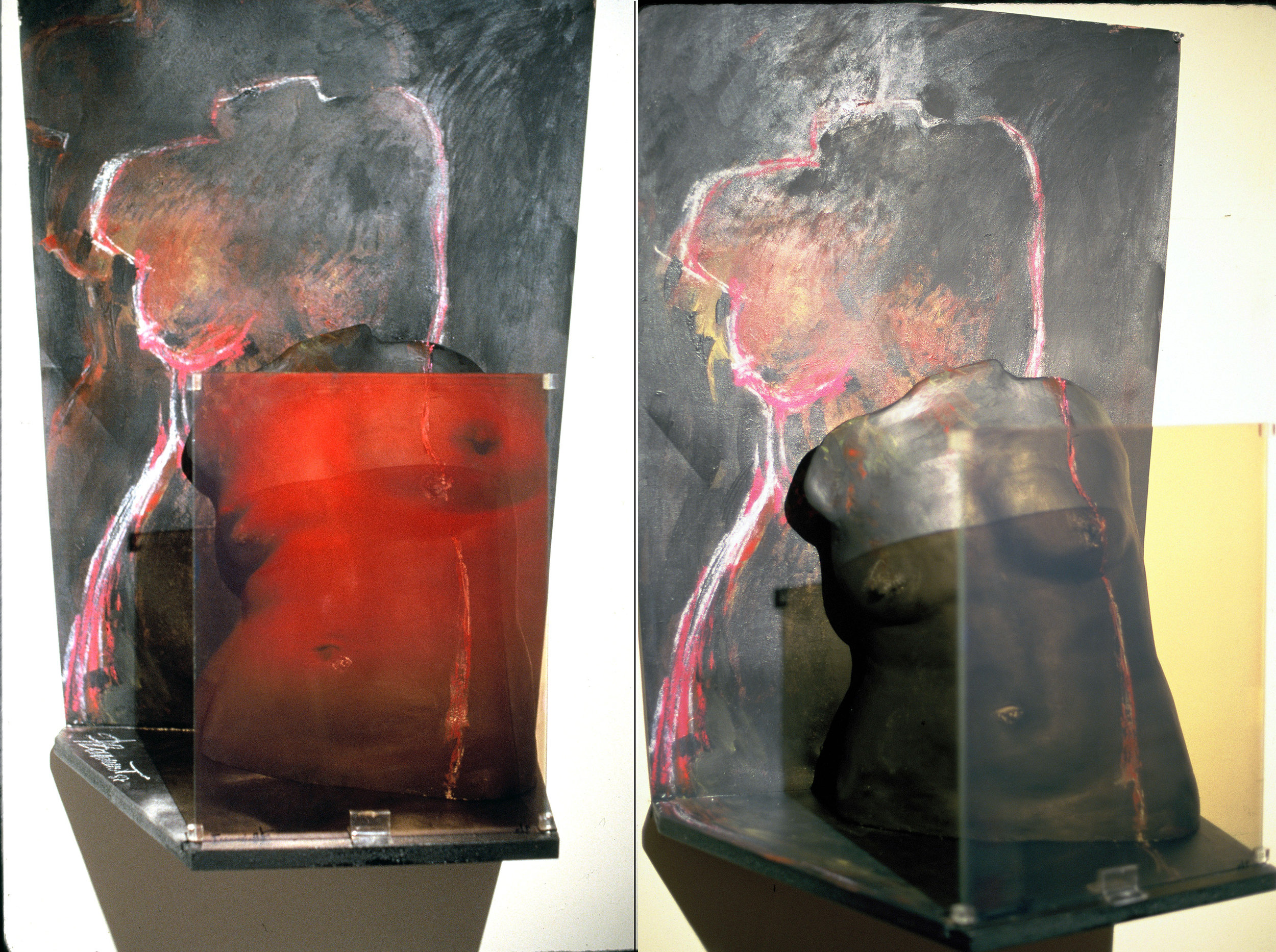 """À l'ombre des grands modèles II"", 1987 Hologram (WLR) on glass, plaster mould, acrylic/pastels on canvas, wood Hologram: 30 x 40 cm"