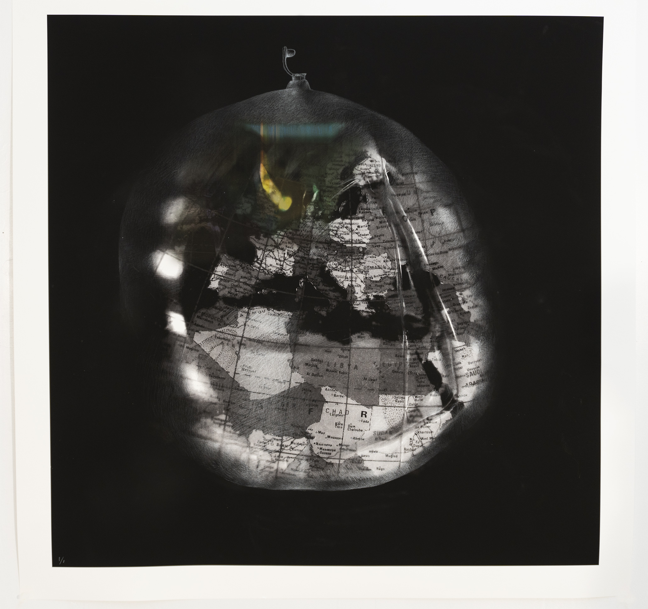 Deflating World 1 , 2018, 100 x 100 cm (Ink-jet print and white pencil on Verona paper). Edition 1/1