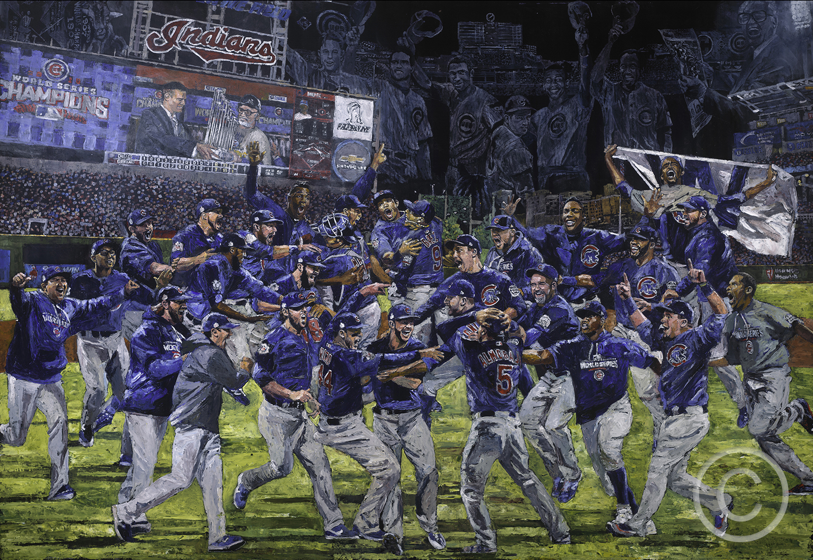 Yahoo Sports: MLB-sanctioned artist depicts Cubs' World Series win with painting