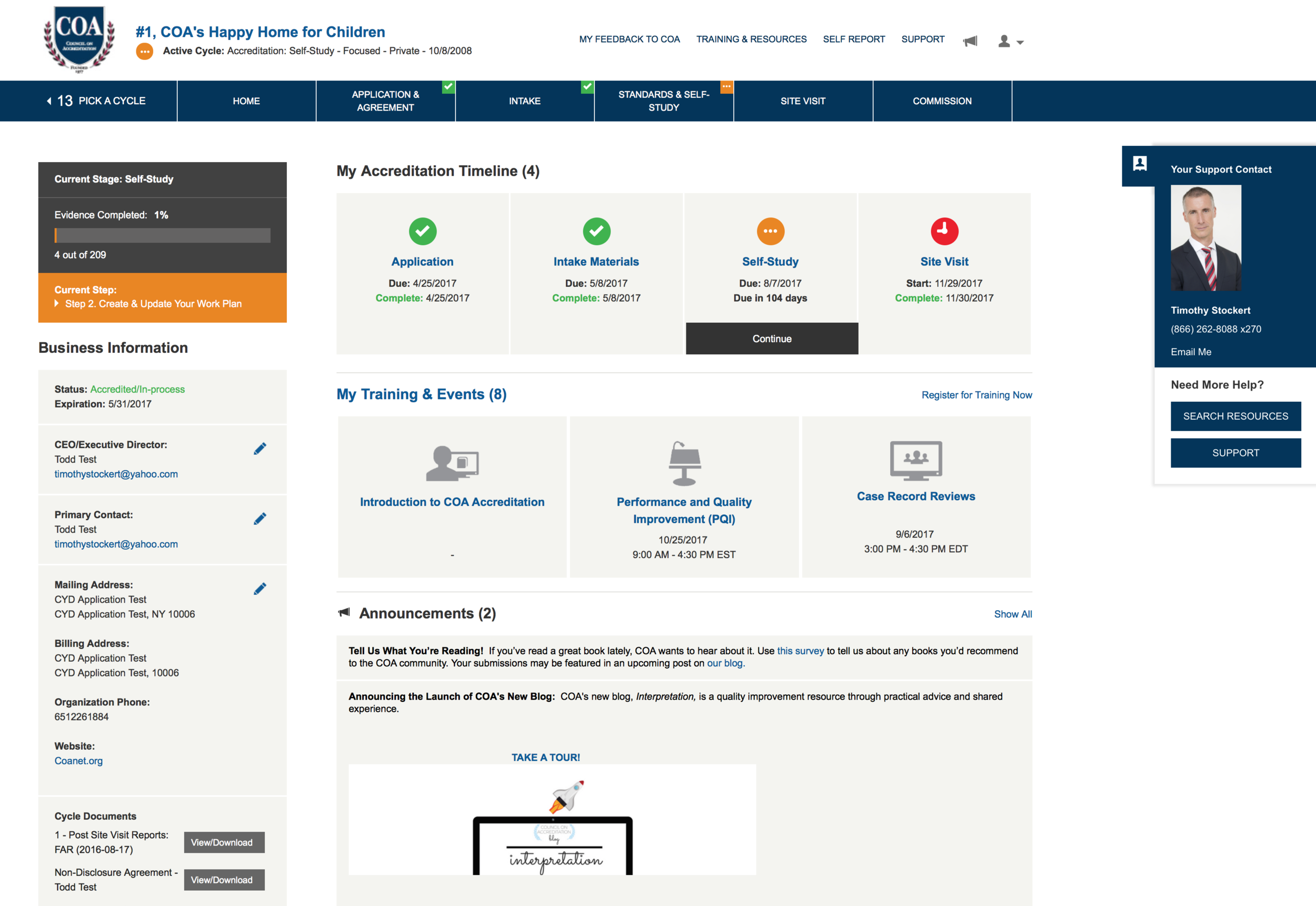 The redesigned MyCOA portal with a new UI launched in 2016.