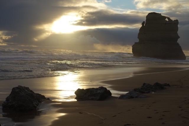 A photo of Half Moon Bay at sunrise.