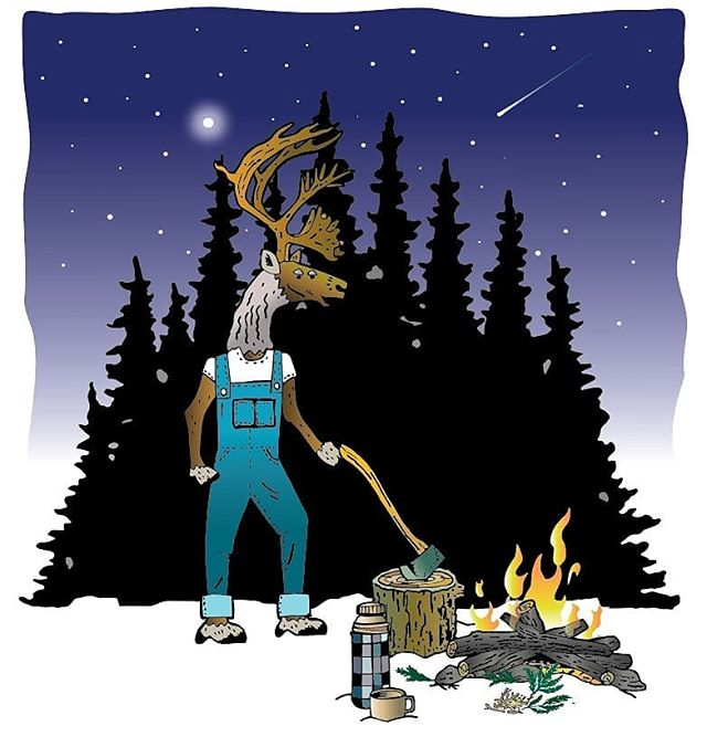 Having a wintery Sunday ❄❄❄ #caribou #illustration #inspiredbynature #reindeer #campfire #wintercamping #snow #fullmoon #axe #thermos #vintage #drawing #digitalart #graphic #illustrator #nature #fallingstar