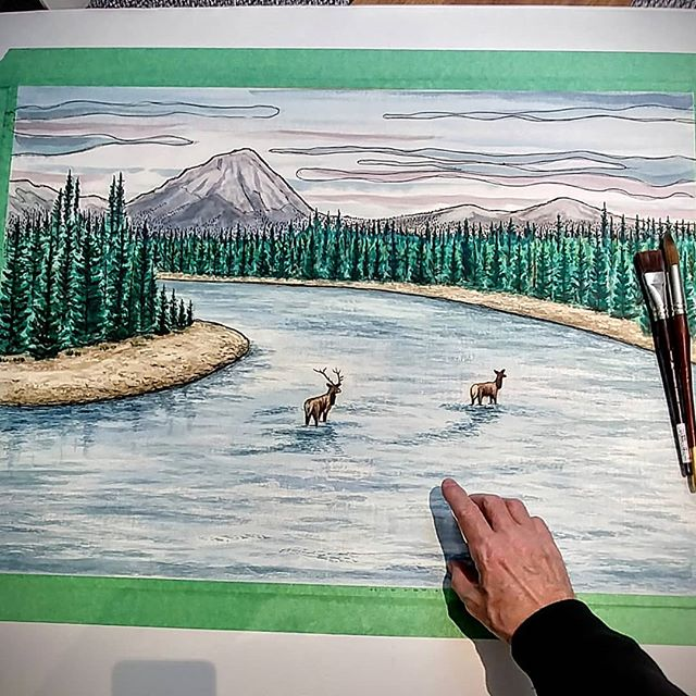 Biggest watercolour painting I've done. It's an experiment. Working up to twice this size. Not loving the style i did so will go looser/more painterly for the next size up. @vagabondpapa  I'm getting mileage out of your photograph 😉 #watercolour #painting #inspiredbynature #elk #mountains #river #nature #northwest #alberta #britishcolumbia #canada #wildlife #watercolor #watercolourpainting